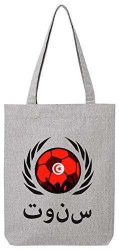 Tunisia World Cup Fussball WM Bio Baumwoll Tote Bag Jutebeutel Stanley Stella Fußball Tunesien Heather Grey ok6bB