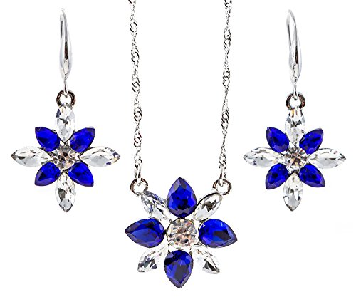 18k Gold Plated Necklace Crystal Snowflake Drop Earrings Cubic Zirconia Jewelry Set for Women Teen Girls Gift Deep Blue