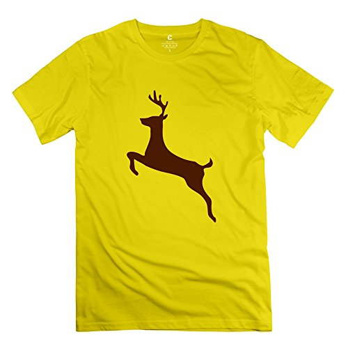 - Jumping Deer 100% Cotton Men's Tshirt Yellow Size M Fashion Style By Rahk