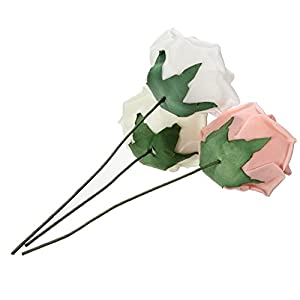 10pcs Classic White Purple Pink Lvory Beige Rose Flowers for Wedding Bridesmaid Bridal Bouquet (White 01) 4