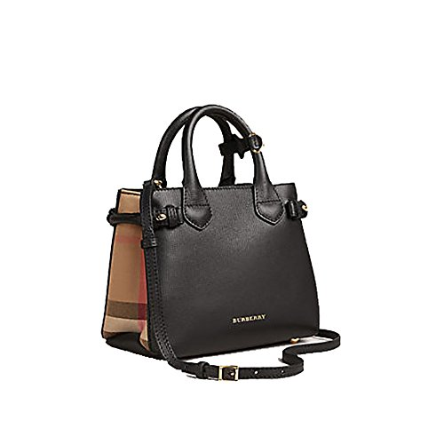 Tote Bag Handbag Authentic Burberry The Baby Banner in Leather and House Check Black Item 40140711