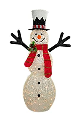 "48"" 3D White Glittered Snowman with 70L Indoor/outdoor clear lights - Christmas home & Yard art decoration"