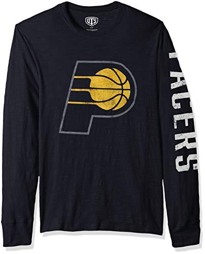 OTS NBA Indiana Pacers Male Slub Long Sleeve Team Name Tee Distressed, Fall Navy, Medium