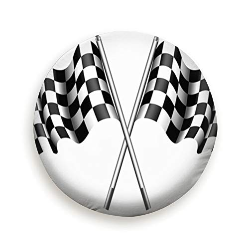 Checkered Flag Rippled Black White Crossed Abstract Universal Spare Wheel Tire Cover Fit for Truck Camper Van,Jeep,Trailer, Rv, SUV Trailer Accessories