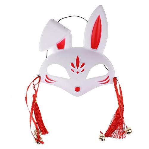 iEFiEL Japanese Half Face PVC Fox/Bunny Mask Masquerade Festival Kabuki Kitsune Costume Face Cover Red Rabbit One Size ()