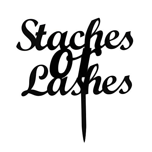 Staches Or Lashes Cake Topper, Gender Reveal Party Decors, Baby Shower Party Supplies, Black Arcylic Cake Topper