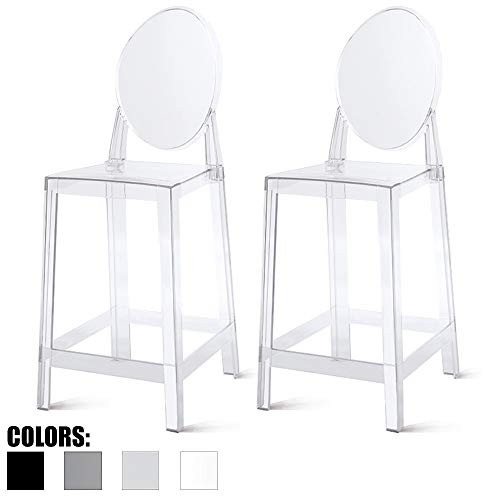 "2xhome Set of Two (2) - Clear - 25"" Seat Height Barstool Modern Ghost Side Bar Stool Counter Stool - Accent Stool - Lounge No Arms Armless Arm Less Chairs Seats Mid Century Design"