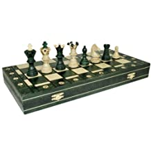 Woodburning Wooden Chess Set - GREEN Board 21x21 Inches