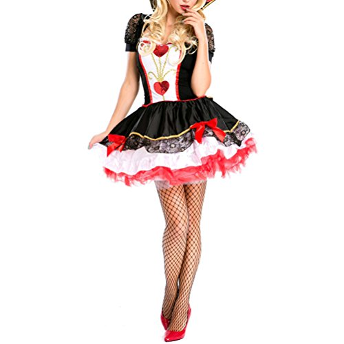 [Nanxson(TM) Women's Poker Queen Dress Costume EXW0005 (XL, black)] (Bunny Dress Tux Tails Adult Costumes)