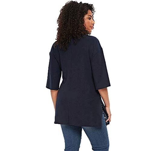 Manica Donna Magliette Forti colore Xl Taglie Rosa Estive Maglietta Oudan Dimensione Corta Blu BZqHHx
