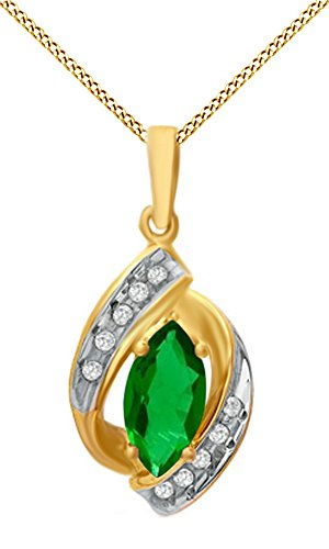 Jewel Zone US Marquise Simulated Green Emerald & Natural Diamond Accent Pendant Necklace in 10K Solid Gold ()