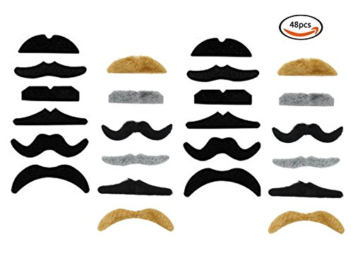 LuckyStar365 48PCS Novelty Fake Mustaches, Mustache Party Supplies, Multi-Color Self Adhesive Mustaches for Masquerade Party & ()