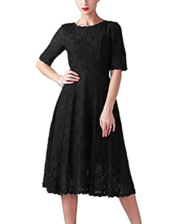 Cdress lace tea length short sleeves prom for Amazon wedding guest dress