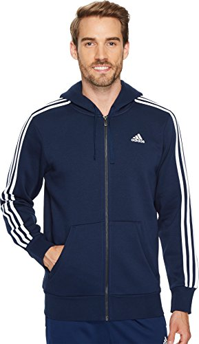 adidas Mens Essentials 3-Stripe Full Zip Fleece Hoodie, Collegiate Navy/White, Medium
