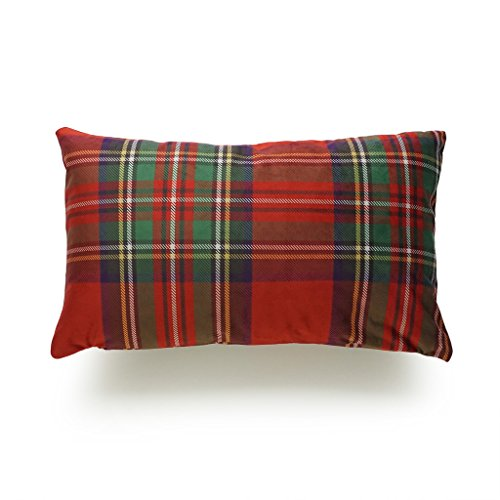Hofdeco Decorative Lumbar Pillow Cover PREMIUM Short Plush Scottish Tartan Plaid Red Classic Royal Stewart 12