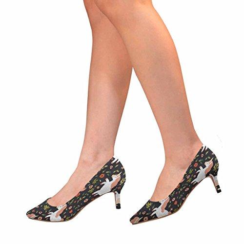 InterestPrint Womens Low Kitten Heel Pointed Toe Dress Pump Shoes White Unicorns,Flowers,Branch Multi 1