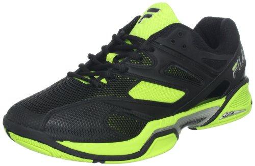 Fila Men's Sentinel Tennis Shoe,Black/Black/Neon Green,11.5 M US