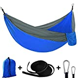 OENEW Single and Double Camping Hammock, Lightweight Portable Nylon Parachute Hammock, Non-Slip, Anti-Fade Outdoor Hammock with Tree Strap and Sturdy Carabiner for Hiking and Travel