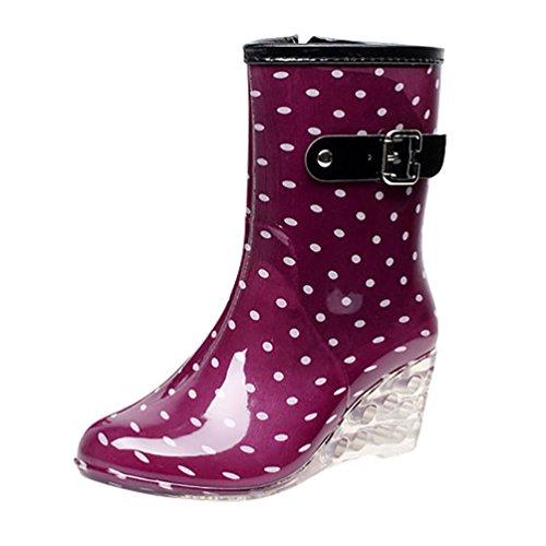 LvRao Women's Zipper Waterproof High Heel Boots Garden Shoes   Ladies Dot Pattern Rain Booties Wellies Purple