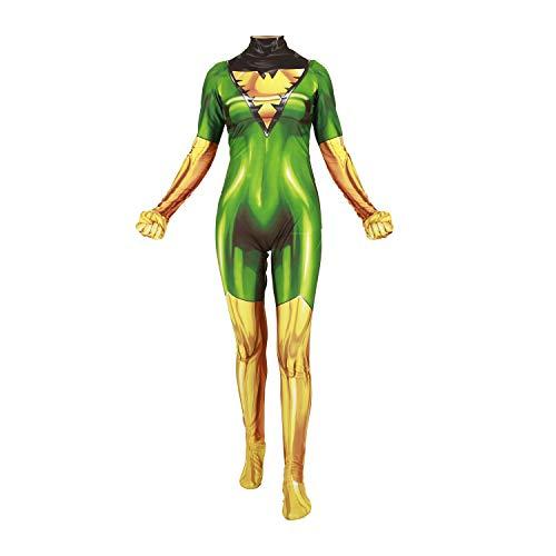 Superhero Cosplay Costume for Womens Halloween Full Set Bodysuits Zentai 3D Style Jumpsuit (Adult-M, Phoenix Green) -
