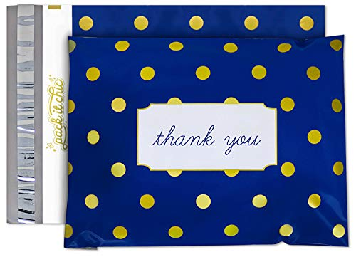 Pack It Chic - 10X13 (100 Pack) Navy Polka Dot - Thank You Poly Mailer Envelope Plastic Custom Mailing & Shipping Bags - Self Seal (More Designs Available) (Shipping Envelopes 10x13)