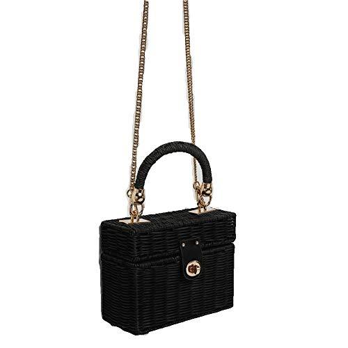 y HYBRID FASHIONISTA Rattan Handbag Straw Shoulder Bag Wicker Bag (Black Rattan Bag with Gold Chain) ()