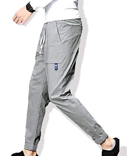 [ウルークレア] メンズ カジュアル スリム ジョガー パンツ チノ イージーパンツ(ブラック/グレー)