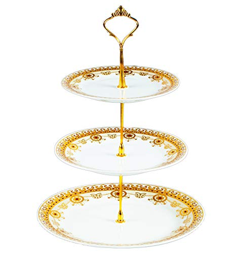 3-Tier Round Porcelain Cake Fruit Stand Plates, Cupcakes Serving Display Set, White Pastry Stands and Trays Towers Platter for Desserts Appetizer Candy Buffet for Wedding & Home & Birthday Party