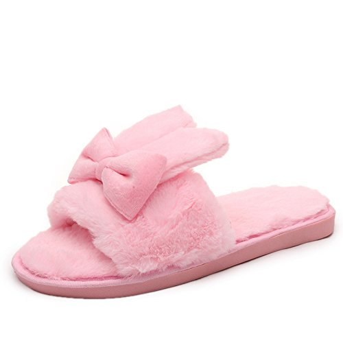 Cotton Slippers Slippers BERTERI Indoor Bow Sweet Rabbit Ears Soft Pink Womens wxtt1rI