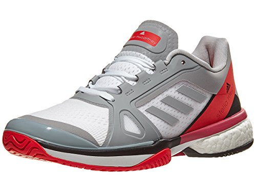 adidas aSMC Barricade Boost Shoe Women's Tennis 7.5 Mid Grey-Core Red