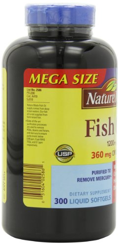 031604025861 - Nature Made 1200mg of Fish Oil, 2400 per serving, 360mg of Omega-3, 300 Softgels carousel main 7