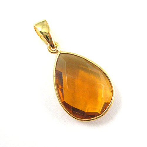Bezel Gem Pendant with Bail - Citrine Quartz - 22K Gold plated Vermeil Teardrop Faceted Gemstone Pendant-29mm