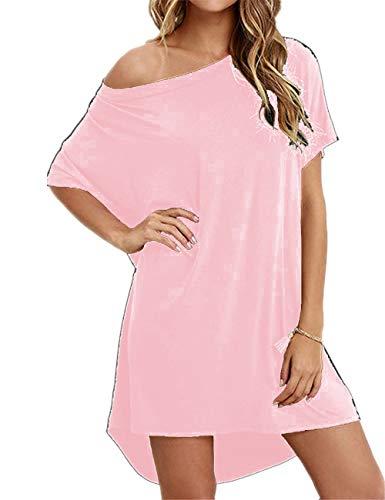 Haola Women Loose T Shirts Home Short Shirt Mini Dresses Tops XL LightPink