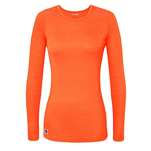 Sivvan Women's Comfort Long Sleeve T-Shirt / Underscrub Tee - S8500 - Neon Orange - -