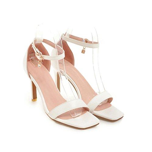 De Tobillo amp;s Sandalias Al Tacones Aguja Zapatos Mei White Mujer qESwOcB8