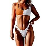 AOmahh Women Bandage Bikini Vest Set,Push-Up Tank top Patchwork Swimwear Beachwear Orange
