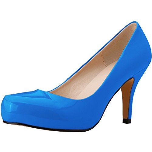 fereshte Womens 2017 New Style Fashion Office Lady Shoes Patent Leather Round-Toe Stiletto High Heels Pumps Sky Blue 7phbMAz