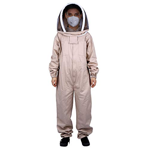 Holulo Siamese Beekeeping Suit Fencing Veil Beekeeper Suit Smock for Mosquito Bee (L, Kahki)]()