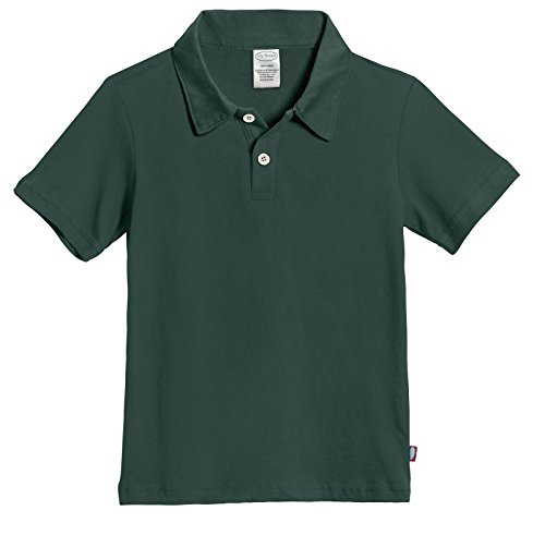 City Threads' Boys All Cotton Short Sleeve 2 Button Polo Uniform Shirt for School Semi Formal Event, Perfect for Sensitive Skin SPD, Uniform Hunter Green, 10]()