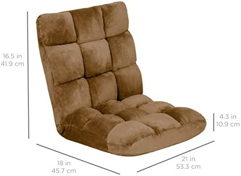 Best Choice Products 14-Position Folding Adjustable Memory Foam Cushioned Padded Gaming Floor Sofa Chair for Living Room, Bedroom – Brown