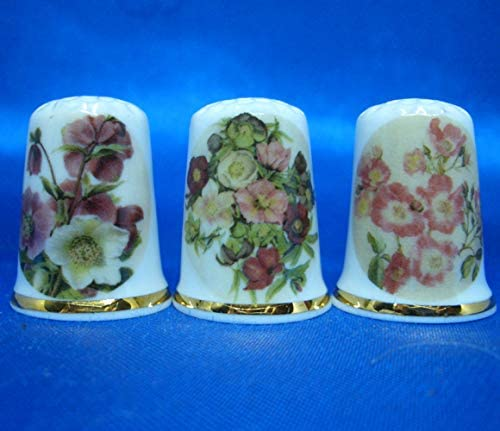 Porcelain China Collectable Thimbles Set of Three Blue Designs