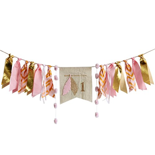 INNORU 1st Birthday Handmade High Chair Banner First One Birthday Party Supplies Decorations Burlap Bunting for Baby Girl
