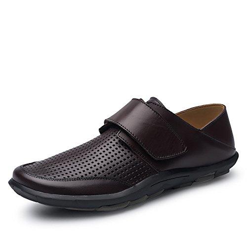 Koyi Les Hommes d'été Affaires Chaussures en Cuir Décontracté Trou Chaussures Creux Respirant Chaussures Brown2 MbNvFo1i