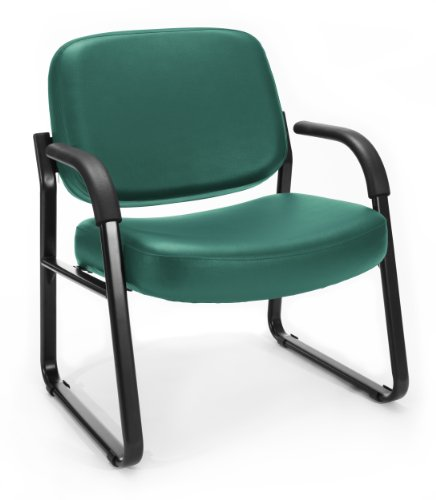 OFM Big and Tall Reception Chair with Arms - Anti-Microbial/Anti-Bacterial Vinyl Mid-Back Guest Chair, Teal (407-VAM)