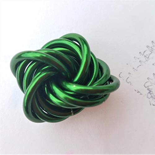 Möbii Emerald: Small Mobius Hand Fidget Toy, Shiny Green Stress Ball for Restless Hands, Office Toy