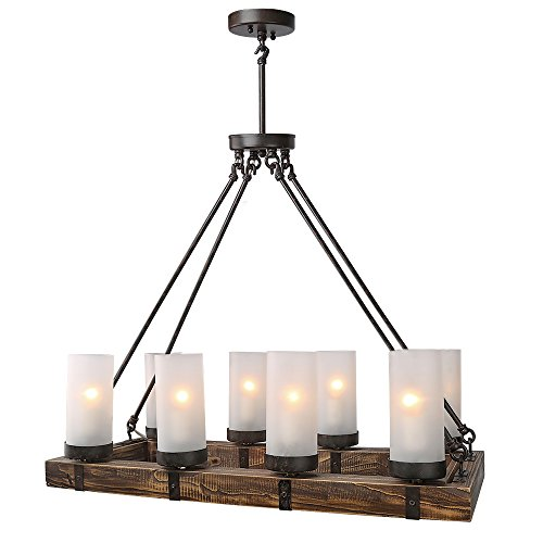 Lnc wood chandeliers kitchen island chandelier lighting 8 light pendant lights
