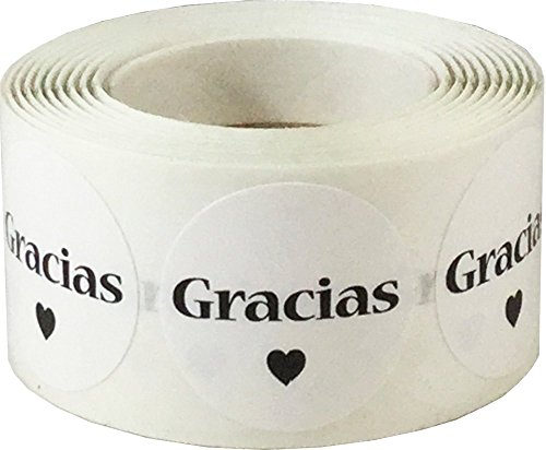 "InStockLabels Spanish Thank You ""Gracias"" White Adhesive Stickers, 1 Inch Round Labels, 500 Labels per Roll"