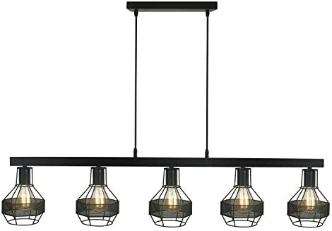 Modern Matte Black Metal Vintage Decor Five-Light Linear Chandelier,Great Industrial Chic Light Edison Cages Shade for Kitchen, Bar, Island, Dining Room, and Foyer
