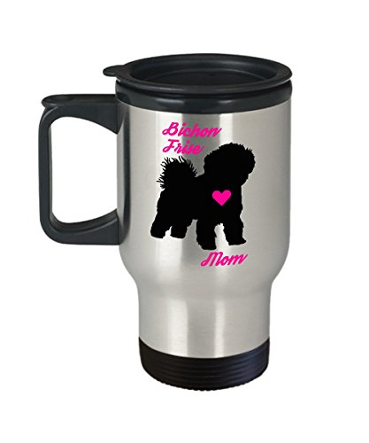 Bichon Frise Mom Travel Mug - Insulated Portable Coffee Cup With Handle And Lid For Dog Lovers - Perfect Christmas Gift Idea For Women - Novelty Animal Lover Quote Statement - Sweatshirt Bichon