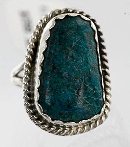Native-Bay $300Tag Handmade Certified Silver Navajo Spider Web Turquoise Ring 371102389204 Made by Loma - Web Spider Ring Turquoise